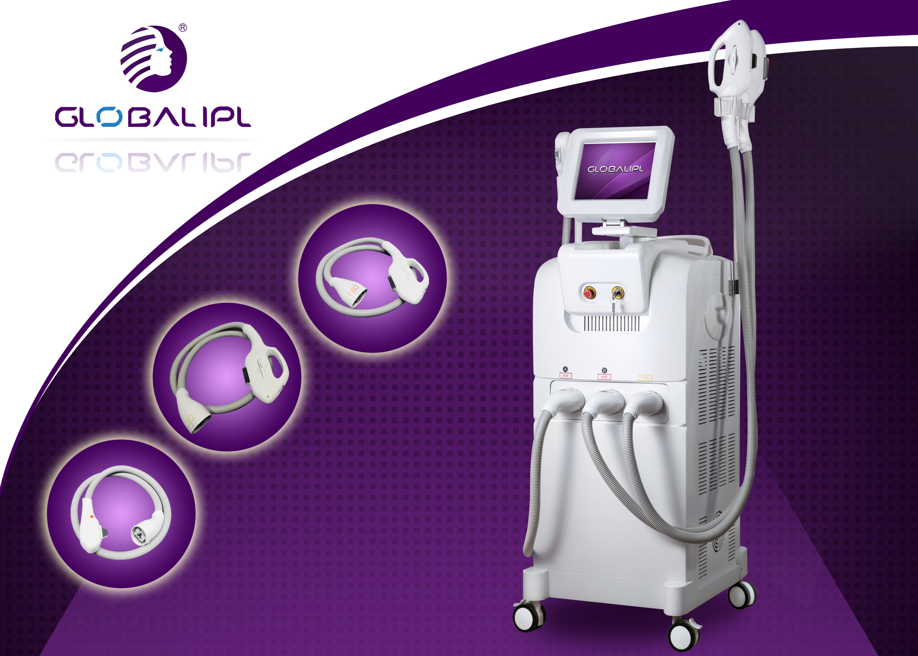 Adjustable Energy Aft Opt SHR IPL Machine For Skin Care With Three Handle